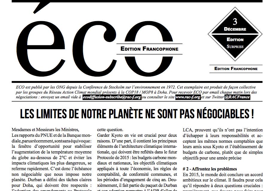 ECO, le bulletin des ONG dans la négociation